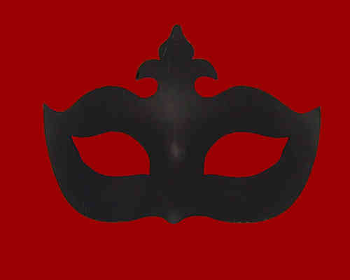 Venetian Colombina Ciglio Mask, black, type C (Cartapesta)