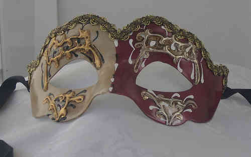Colombina-Maske, rot-weiss-gold