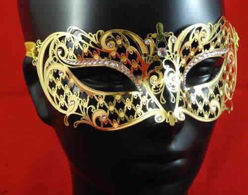 Venetian laser cut out metal mask, golden, with strass pearls