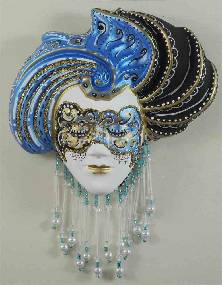 Turbaned venetian decorative wall mask (S,blue)