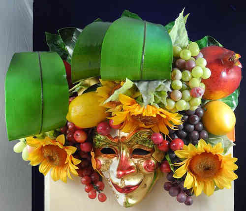 Venetian decorative Bachus wall mask with fruits