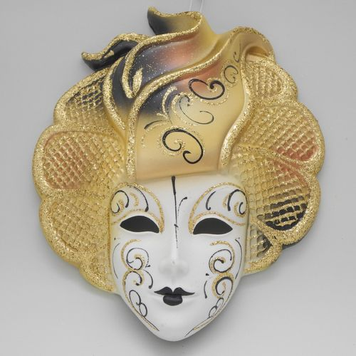 "Venetian decorative wall mask ""Sylvia"" yellow"