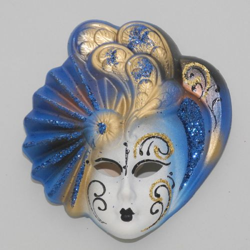 "Venetian decorative wall mask ""Livia"", S, blue"
