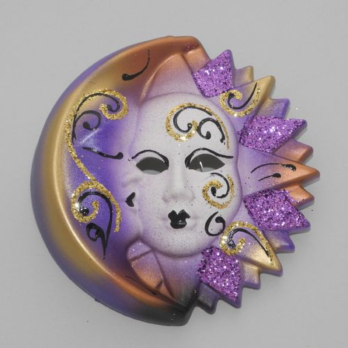 Venetian decorative wall mask - Moon and Sun, S, violet