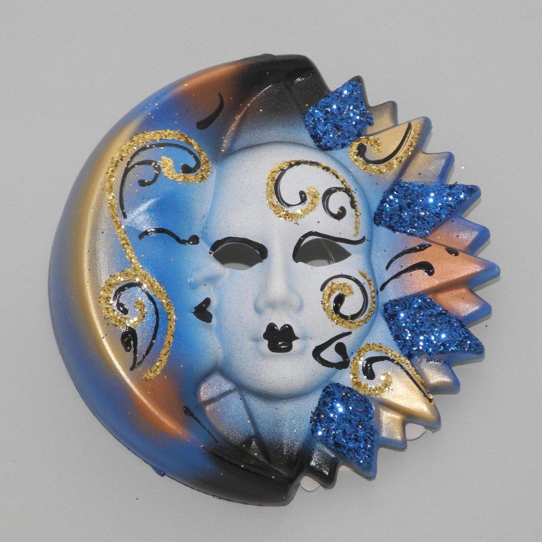 Masque d coratif v nitien mural lune et soleil s bleu for Soleil decoratif mural