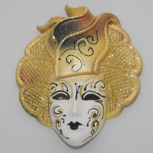 "Venetian decorative wall mask ""Sylvia"", M, yellow"