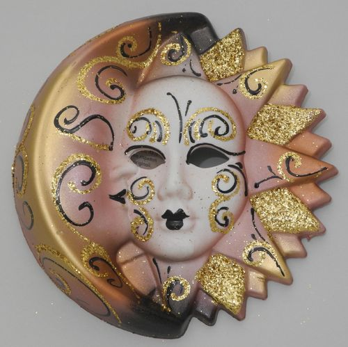 Venetian decorative wall mask - Moon and Sun, M, rose