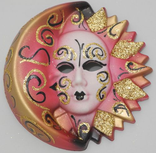 Venetian decorative wall mask - Moon and Sun, M, red