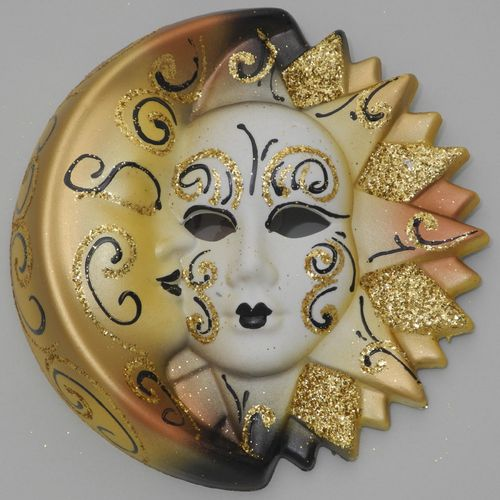 Venetian decorative wall mask - Moon and Sun, M, yellow