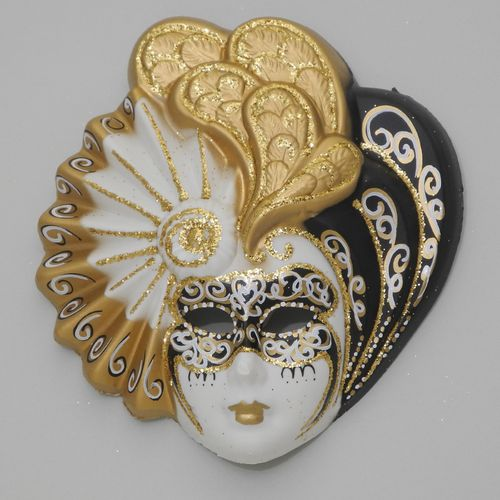 "Venetian decorative wall mask ""Livia"", M, black white golden"