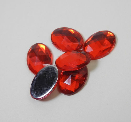 6 oval acrylic gemstones 13x18 mm, colour: red