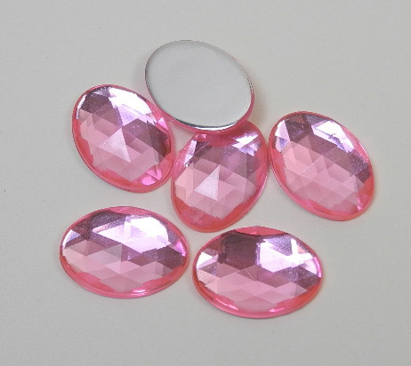 6 oval acrylic gemstones 13x18 mm, colour: rose