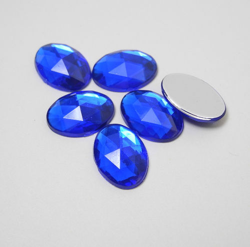 6 oval acrylic gemstones 13x18 mm, colour: blue