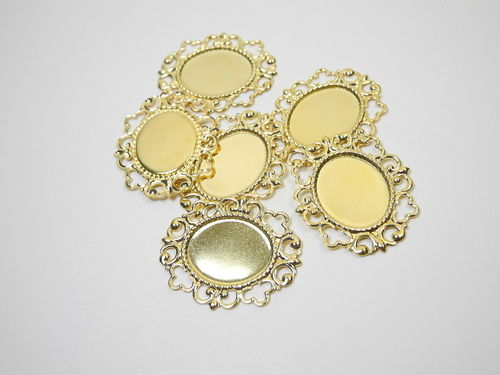 6 metal settings 20 x 30 mm for 13 x 18 mm gemstones, golden